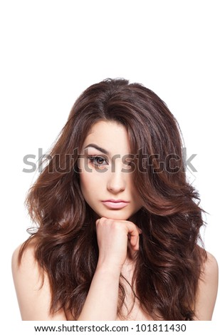 portrait of sexy  beautiful young woman with long healthy hair, isolated over white background concept of natural beauty skin, hair care - stock photo