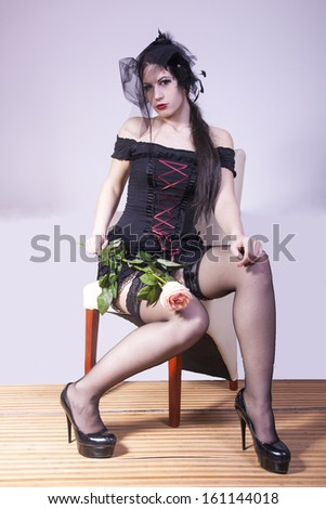 portrait of sexy black widow woman - stock photo