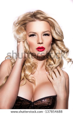 Portrait of sexy blonde on a white background  / Sexy blonde woman - stock photo