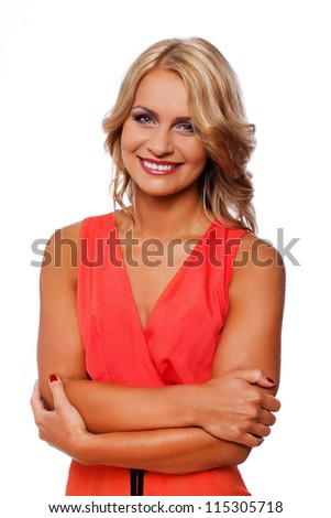 Portrait of sexy blonde woman posing in studio - stock photo