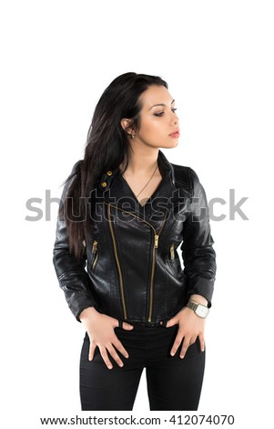 Portrait of sexy brunette posing in black jacket. Isolated on white - stock photo