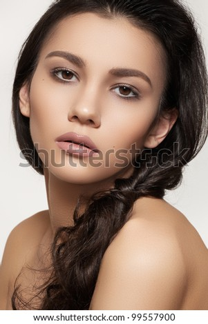 Portrait of sexy caucasian young woman. Natural spa beauty with pure skin. Beautiful model with natural make-up, clean skin and romantic hairstyle - stock photo
