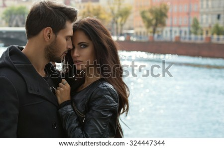 Portrait of sexy couple touching each other - stock photo