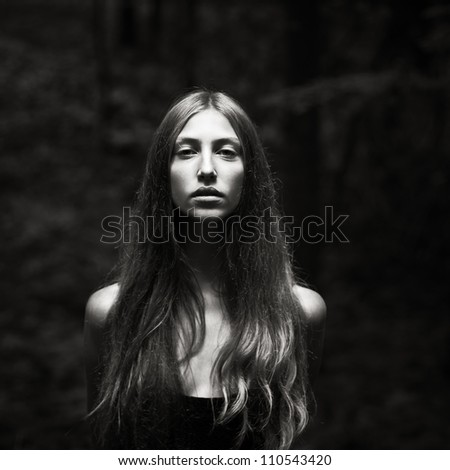 portrait of sexy girl in the forest