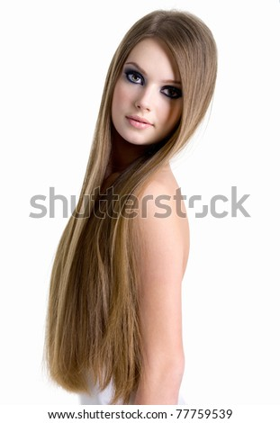 Portrait of sexy girl with beautiful long hair - isolated on white background - stock photo