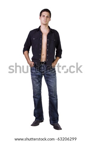 Portrait of sexy male model  isolated on white background