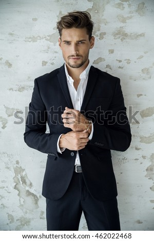Portrait Handsome Man Black Suit Stock Photo 460050457 - Shutterstock