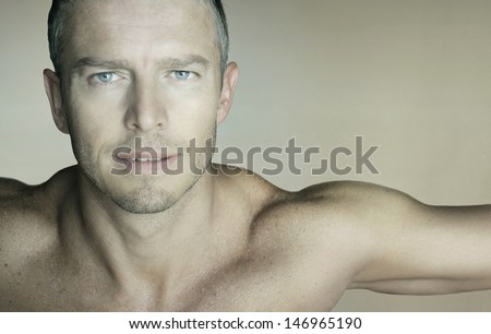 Portrait of sexy muscular man - stock photo