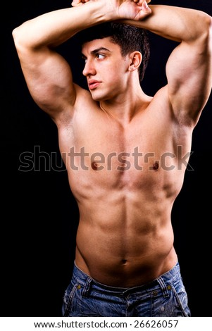 Portrait of sexy muscular man with fit body - stock photo