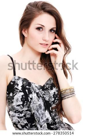 Portrait of sexy slim girl  - stock photo
