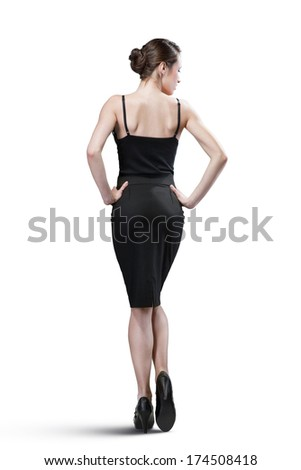 portrait of sexy woman in black dress isolated on white