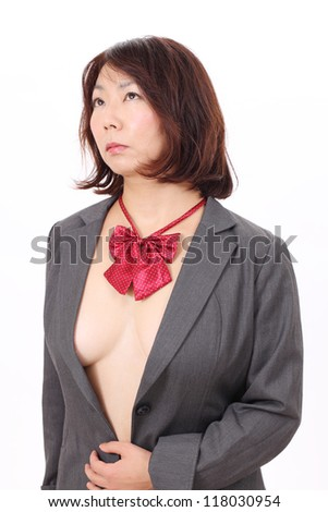 Portrait of sexy woman isolated on white background - stock photo