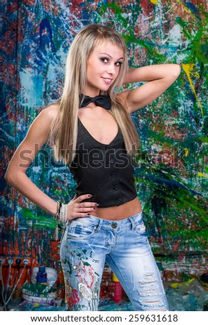 Portrait of sexy woman posing of variegated background lady