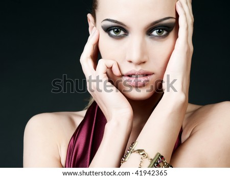 portrait of sexy woman with beautiful eyes and lips - stock photo