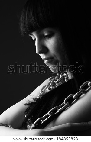 portrait of sexy woman with chains