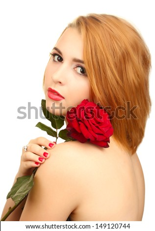 portrait of sexy young woman with red rose