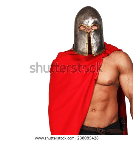 Portrait of shirtless warrior in helmet and red mantle and with grin on his face - stock photo