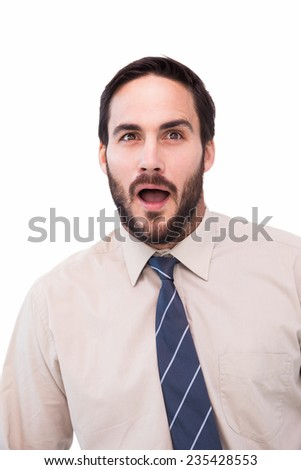 Portrait of shocked businessman with mouth open on white background