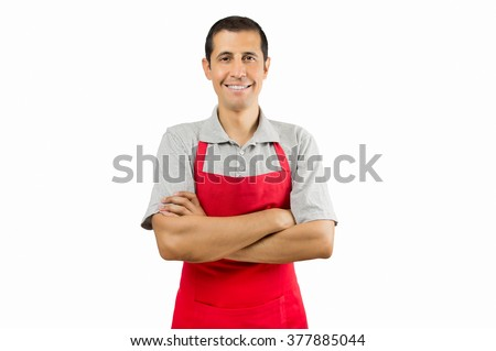 portrait of shopman isolated on white background