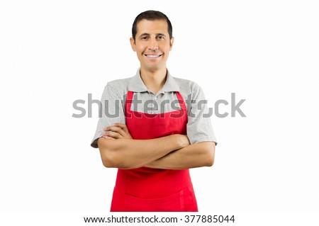 portrait of shopman isolated on white background - stock photo