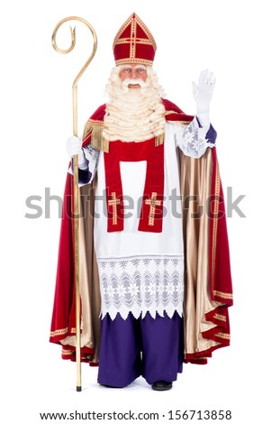 Portrait of Sinterklaas with staff, on a white background - stock photo
