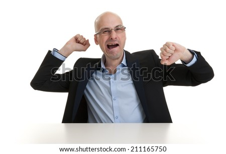 portrait of sleepy bald business man yawning - isolated - stock photo