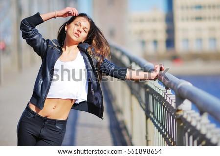 Portrait Slim Sexy Woman Bridge Wearing Stock Photo 561898654 ...