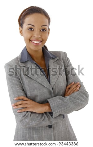 Portrait of smart businesswoman smiling with arms crossed.?