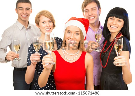 Portrait of smart colleagues with flutes of champagne wishing you Merry Christmas - stock photo