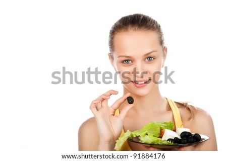portrait of smile attractive young woman with plate of vegetable salad and olive, girl with greek salad, beauty woman with vegetarian salad, smiled face, white background