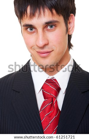portrait of smiley businessman over white background - stock photo