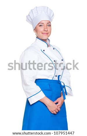 portrait of smiley female cook isolated on white background