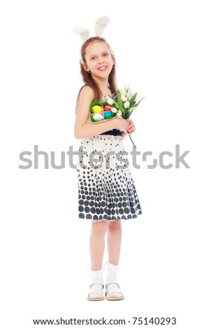 portrait of smiley girl with tulips and easter eggs