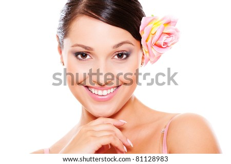 portrait of smiley happy woman with flower. isolated on white background - stock photo