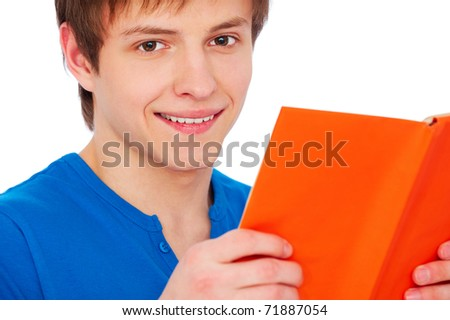 portrait of smiley man with book over white background - stock photo