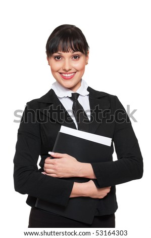 portrait of smiley secretary with folder of documentations