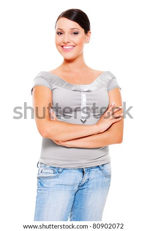 portrait of smiley young woman in grey t-shirt. isolated on white background