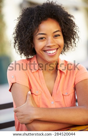 Portrait Of Smiling African American Woman - stock photo