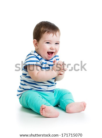 portrait of smiling baby boy isolated on white background - stock photo
