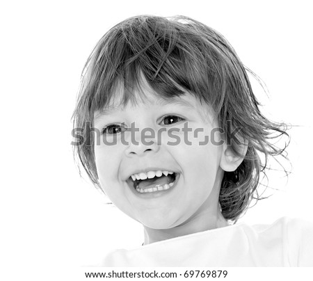 portrait of smiling baby-girl on white background - stock photo