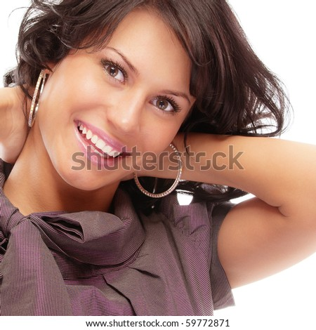 Portrait of smiling beautiful woman, isolated on white background. - stock photo
