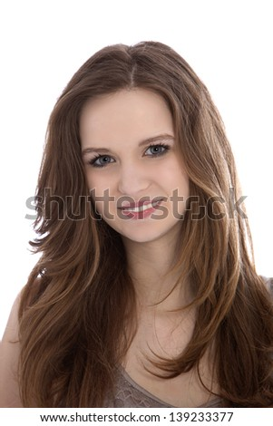 Portrait of smiling beautiful womans face isolated on