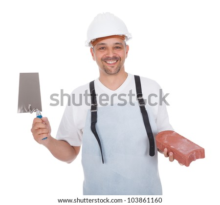 Portrait of smiling bricklayer. Isolated on white - stock photo