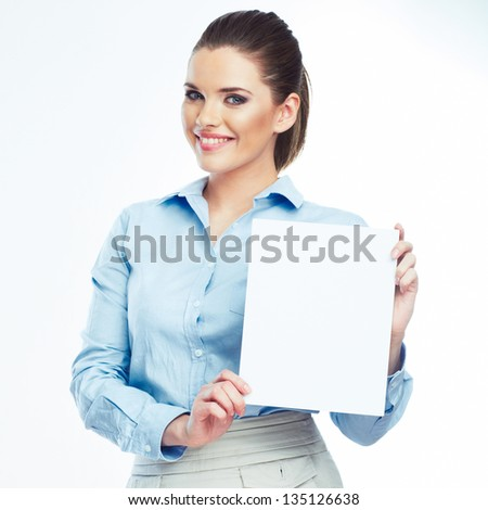 Portrait of smiling business woman hold blank board isolated on white background. Female model . - stock photo