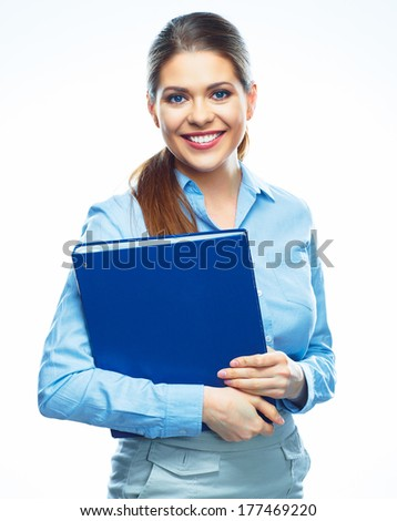 Portrait of smiling business woman isolated on white background. Report folder. - stock photo