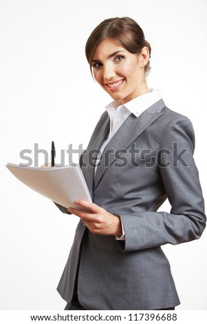 Portrait of smiling business woman with blank paper, isolated on white background