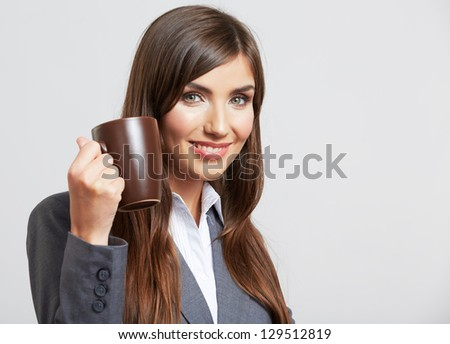 Portrait of smiling  business woman with cup, isolated on white background