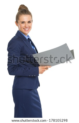 Portrait of smiling business woman with documents