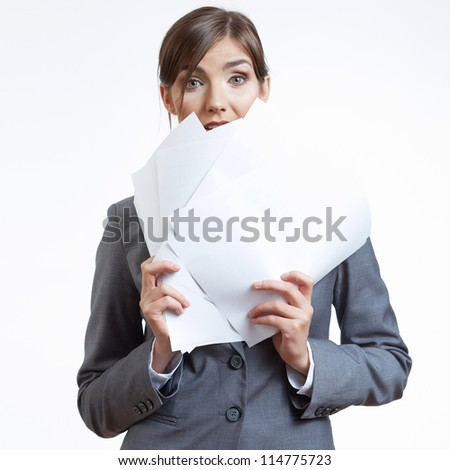 Portrait of smiling business woman with office paper, isolated on white background