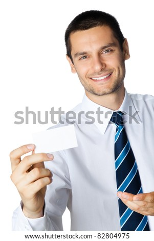 Portrait of smiling businessman showing blank business card, isolated on white background